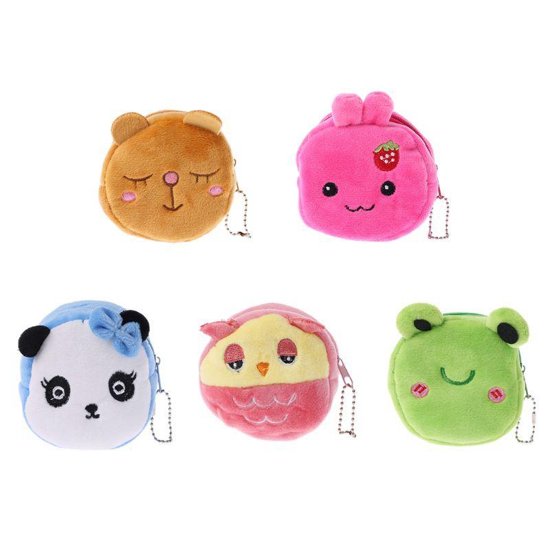 SENG♥Cartoon Wallet Bag Animal Face Zipper Mini Cute Coin Purse Plush S