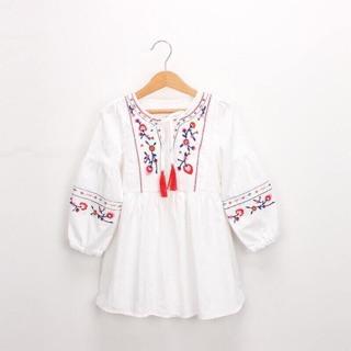 🌸Váy thêu hoa màu trắng thổ cẩm - MẪU MỚI
