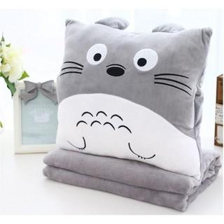 Bộ chăn mền gối ngủ văn phòng mèo xám toroto cao cấp 3 trong 1 - vải nỉ mềm mịn