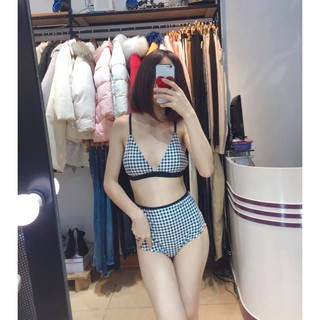 Bộ bikini nữ 2 mảnh đi biển kẻ caro, quần cạp cao, cúp ngực có độn, đủ size