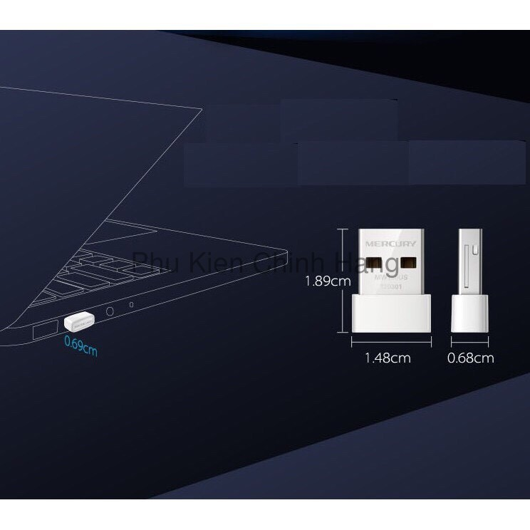 USB 150Mbps Mercury Mini Bắt Sóng WIifi Cho Máy Để Bàn PC Giá chỉ 173.000₫