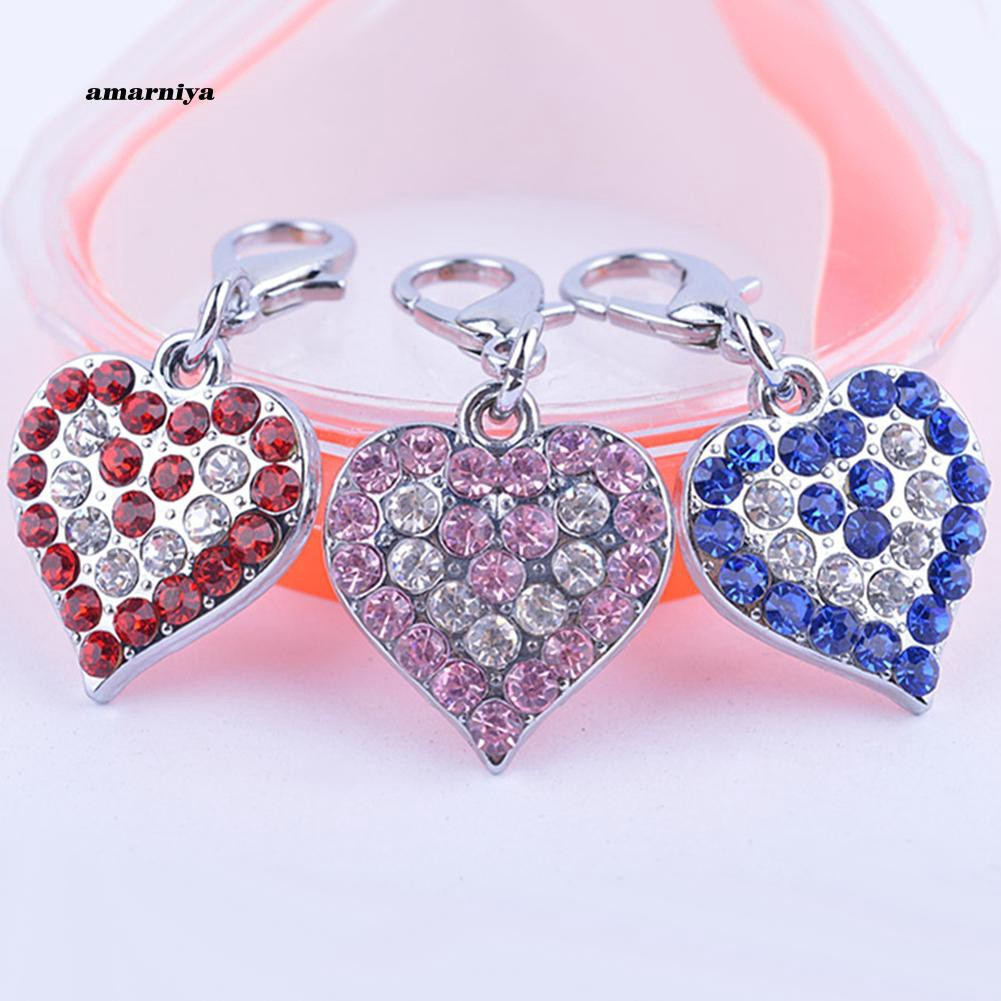 AMA♥Rhinestone Jewelry Pendant Heart Shaped Necklace Charm Pet Tag Dog Accessory