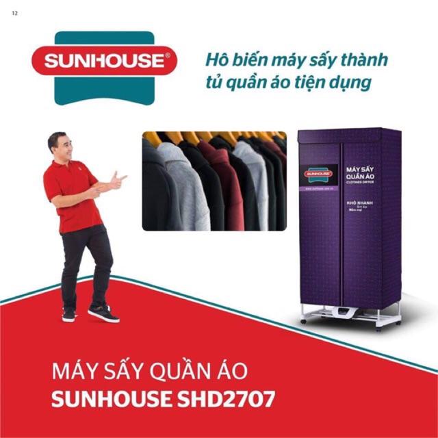 Tủ sấy quần áo 3 tầng Sunhouse SHD2707 mẫu mới 2019