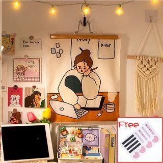Vải treo tường hoạ tiết hình cô gái xinh xắn trang trí không gian nhà cửa