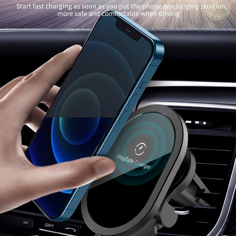 Đế Sạc Điện Thoại Không Dây 15w Xoay 360 Độ Có Nam Châm Gắn Xe Hơi Cho Iphone 12 Pro Max Iphone 12 Giá Đỡ