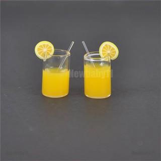 【COD•newb】2X Mini Lemon Water Cup Dollhouse Accessories Toy Mini Decor Gift 1: