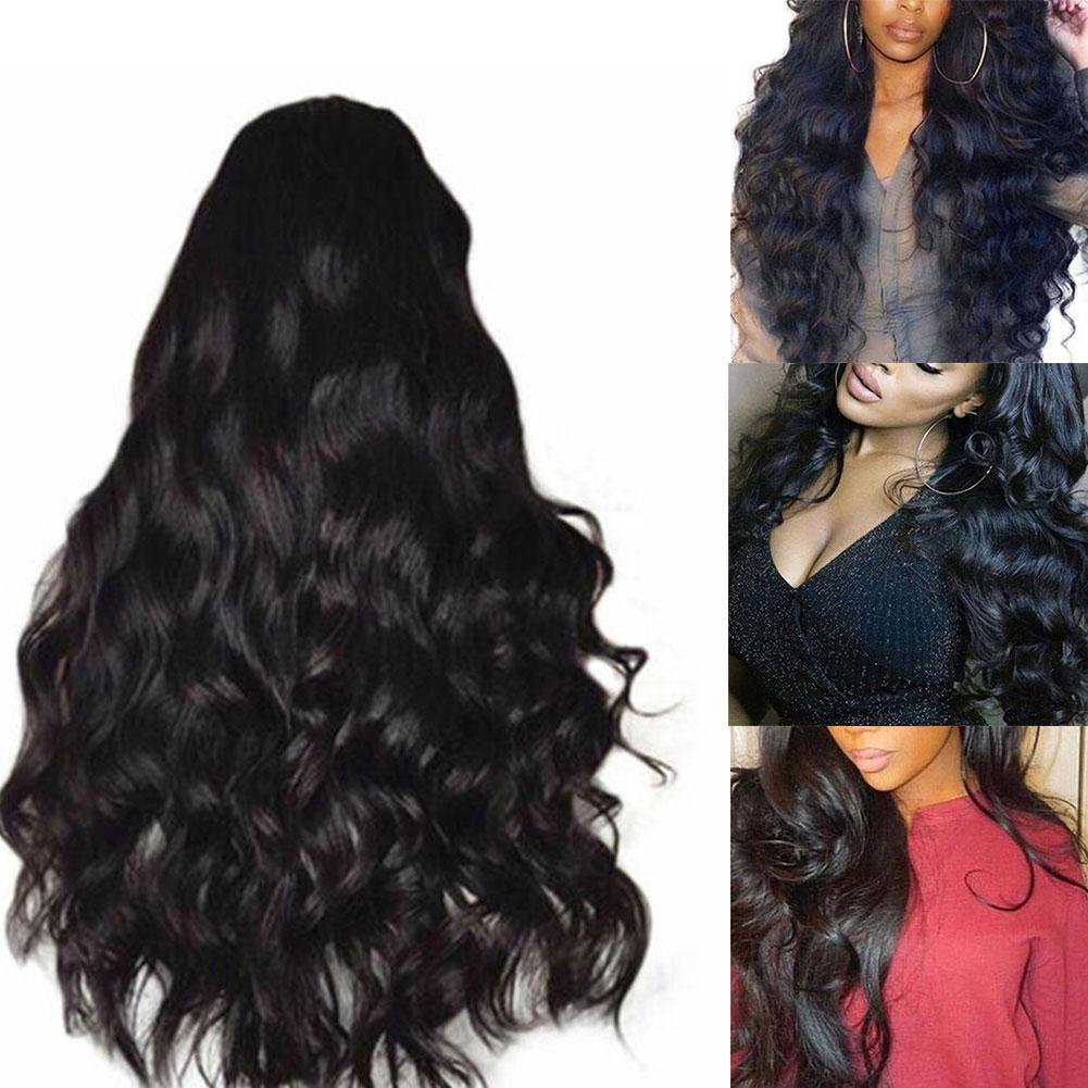 Women Fashion Human Hair Lace Front Wig Body Wavy Full Wigs Natural Black