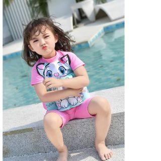 Đồ bơi bé gái có kèm phao hình mèo dang liền thân cho trẻ em