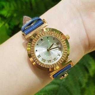 Đồng hồ nữ VS dây da mặt viền vàng sang trọng nhiều màu đen đỏ trắng xanh nâu Tony Watch 68 thumbnail