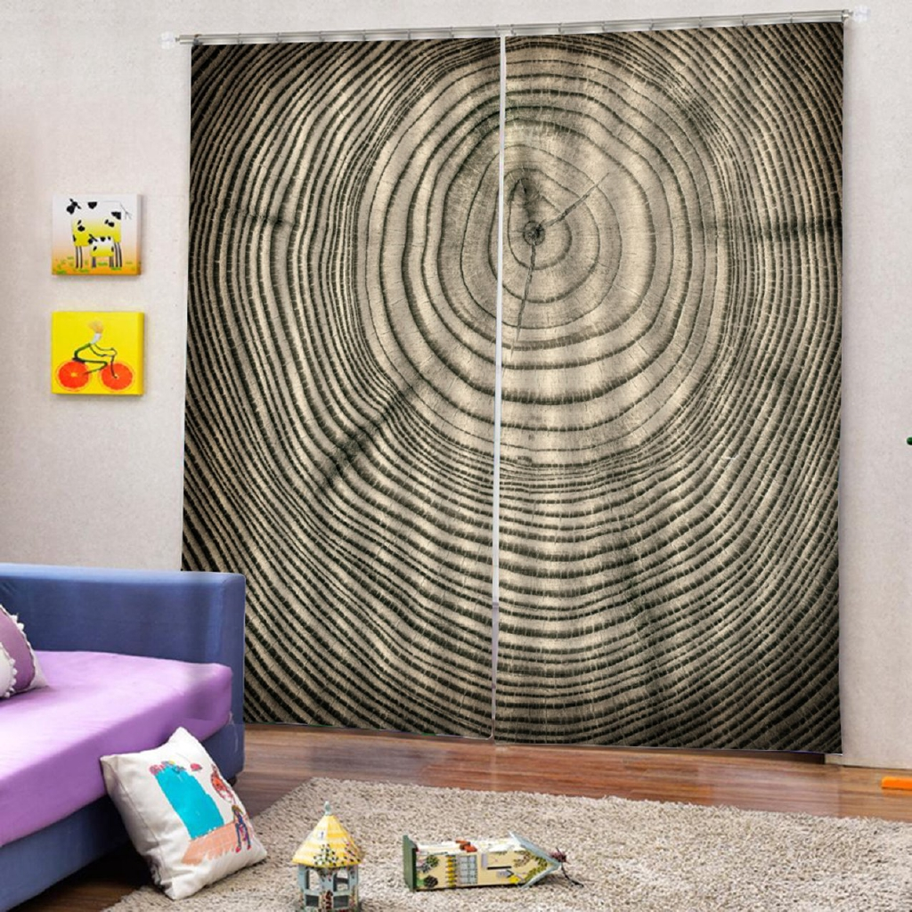 ^0^ Wooden Pattern Modern Design Curtain Panel Curtains for Home Living Room