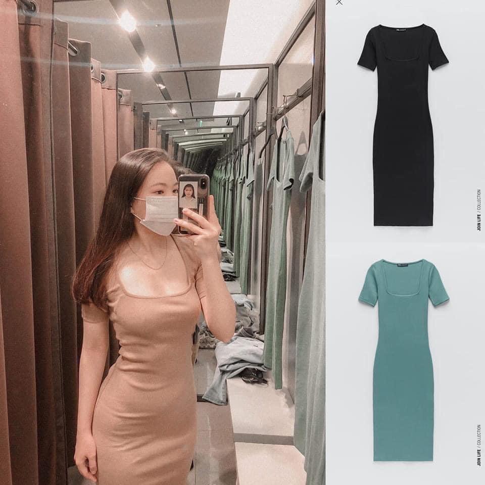 Váy Zara Body Len Tăm Cổ Vuông