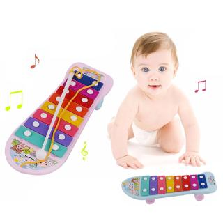 Kids Baby Instrument 8 Key Notes Xylophone Hand Knock Piano Music Toys