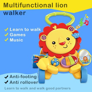 ★Lp★Baby Walker Adjustable Height Push Walker First Steps Activity with Music