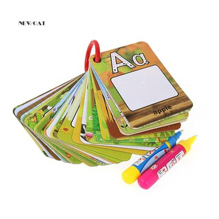 ღNK_26 Pcs Letter Learning Cards Cartoon Painting Board Pens Kids Educational Tools