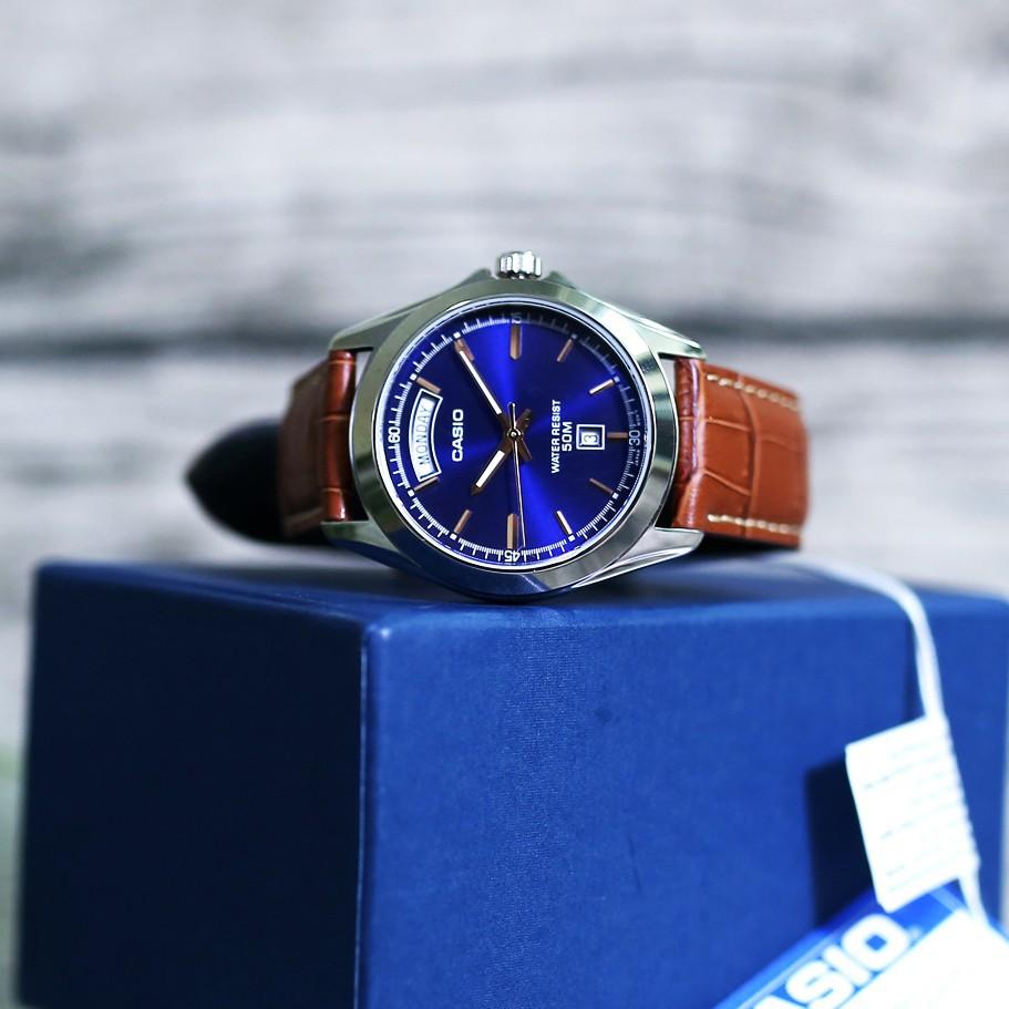 Đồng hồ nam Casio MTP-1370L-2AV Dây Da Màu Nâu - Nền Mặt Màu Xanh- chống nước độ sâu