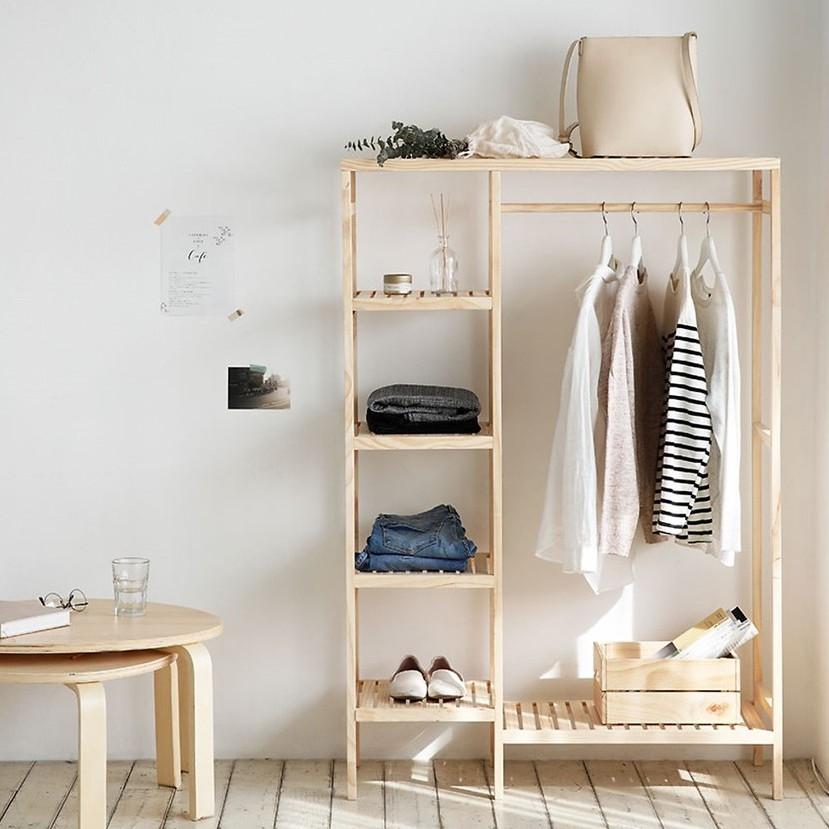 Tủ treo quần áo 2 gian - Tủ treo quần áo 2 khoang - Gỗ thông nhập khẩu