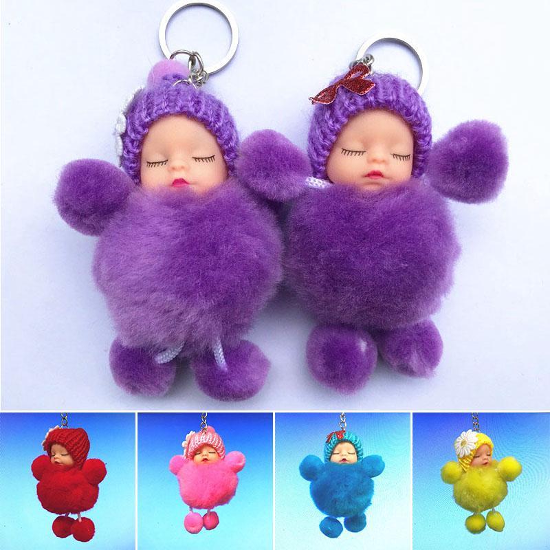 BF*Cute Plush Simulation Sleeping Baby Doll Keychain Key Ornament Pendant