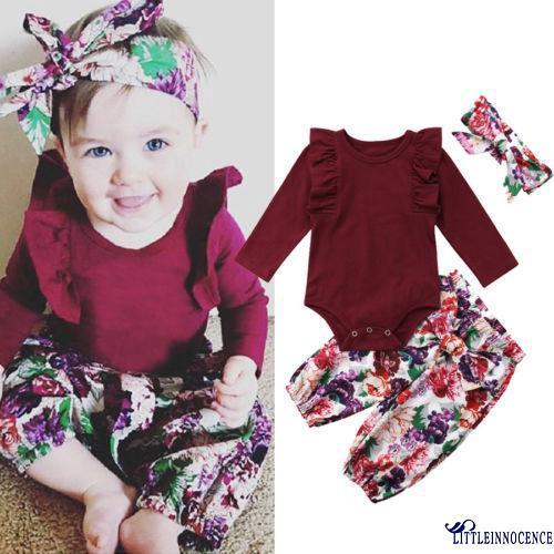 Bộ áo romper tay dài phối bèo màu trơn kèm quần dài và băng đô nơ hoa thời trang dành cho bé gái