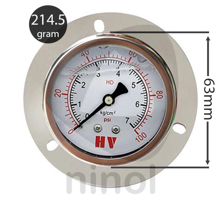 Đồng hồ đo áp suất hơi, khí nén mặt 63mm dầu chân ren sau