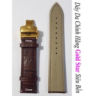 Dây Đồng Hồ Gold Star Chính Hãng Nam Size - 22mm x 20 mm Nâu, Khóa Thép 316L Mạ Vàng 24k. Dây Chất liệu Da Bò Cao Cấp thumbnail