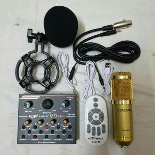 Combo livestream mic BM-900 + Sound card V9 Plus điều khiển từ xa