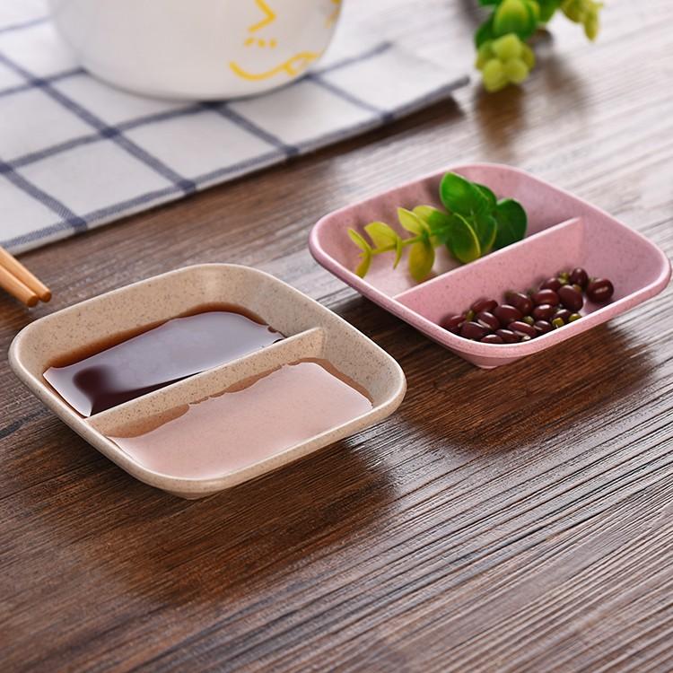 Đĩa đựng gia vị 2 ngăn bằng lúa mạch nhiều màu (giao ngẫu nhiên ) 1580