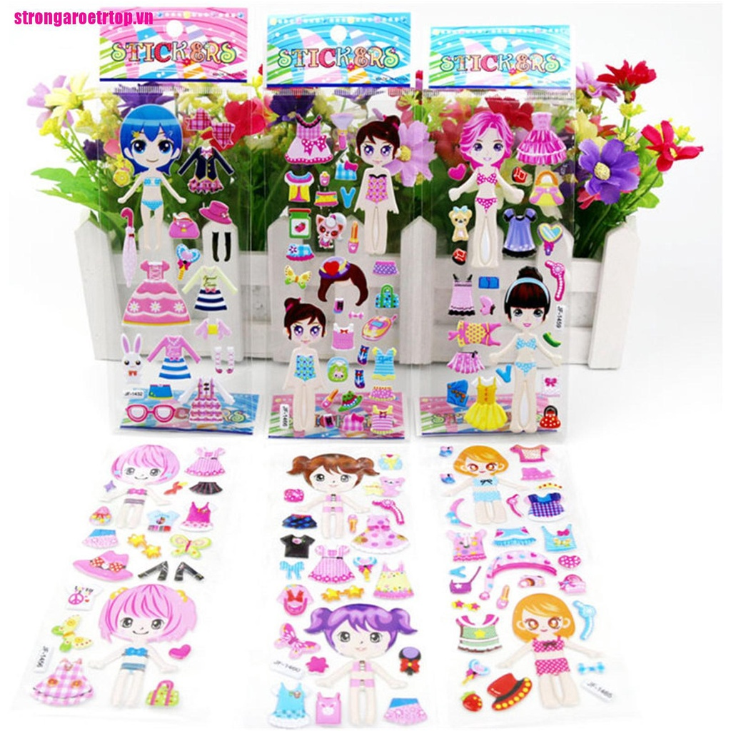 【good】5 Sheets 3D Puffy Bubble Stickers Toys Dress up Girl Changing Clothes Ki