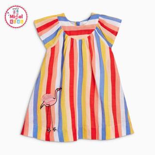 Váy đầm bé gái cotton Little Maven kẻ sọc cầu vồng thêu hạc từ 2-7 tuổi chính hãng - Misolkids