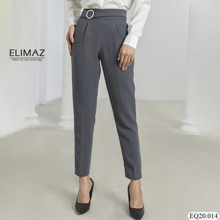 Quần tây nữ cao cấp, có trang trí đai tròn dáng âu lưng cao baggy nhẹ, khóa kéo sườn tiện dụng Elimaz EQ20.014 thumbnail