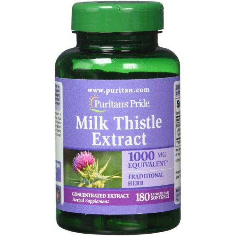Viên uống Milk Thistle 1000mg Puritan's Pride – Bổ Gan, Giải Độc Gan – 180