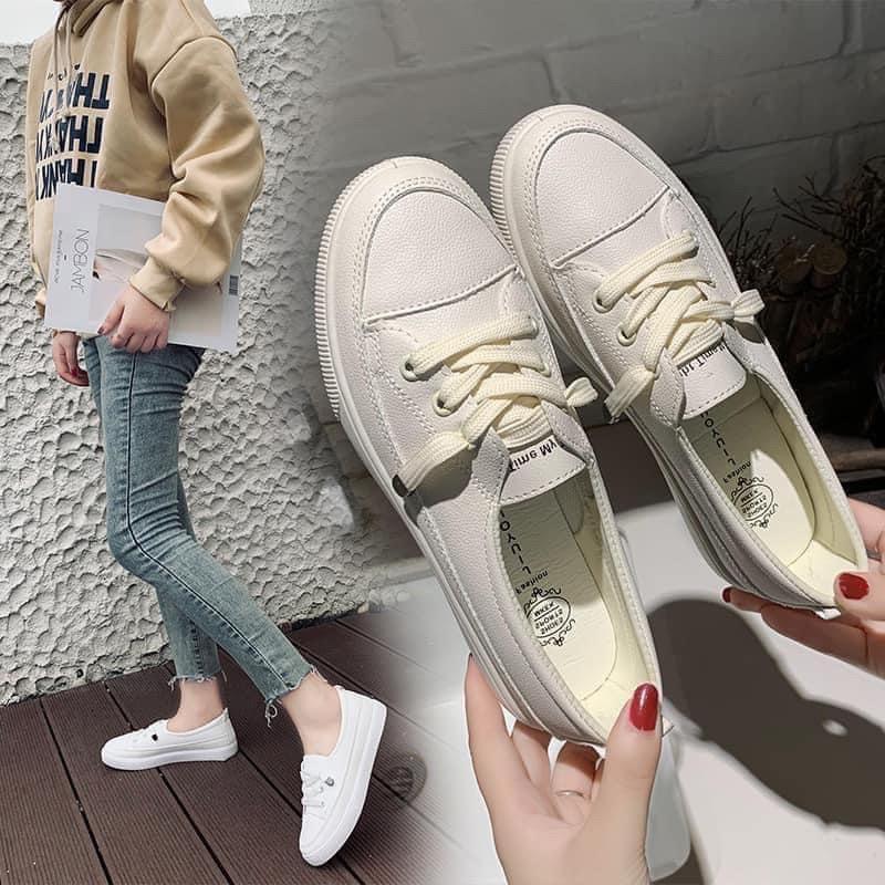 Giày Lười Nữ Dây Buộc Thời Trang