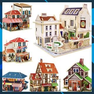 Mô hình nhà búp bê gỗ DIY Mô hình nhà búp bê lắp ghép theo khớp Series Các mẫu nhà nổi tiếng Robotime Toy World thumbnail