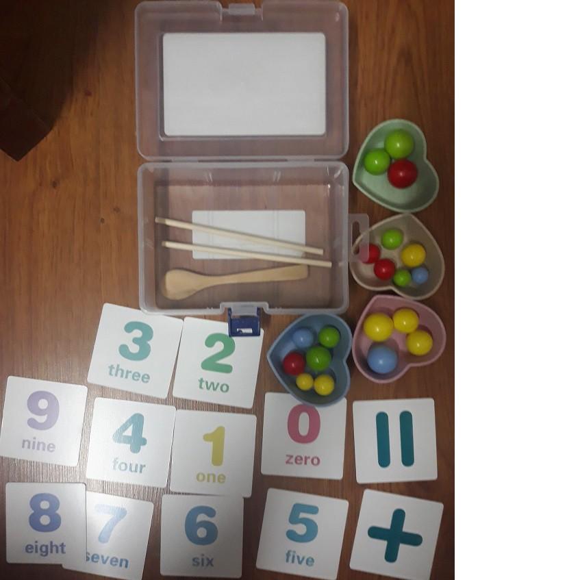 Bộ gắp bi gỗ rèn vận động tinh – giáo cụ Montessori