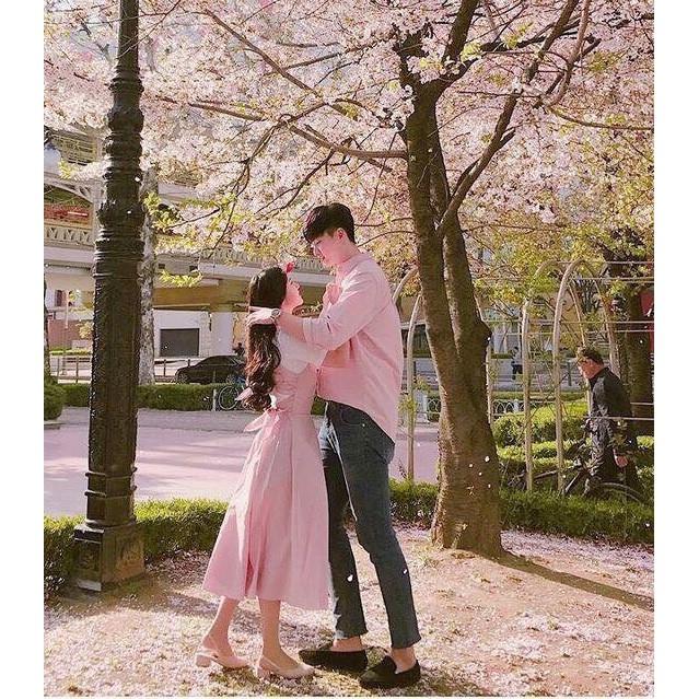 Set cặp đôi Áo Sơ Mi Nam, Nữ Đầm xòe hồng đáng yêu