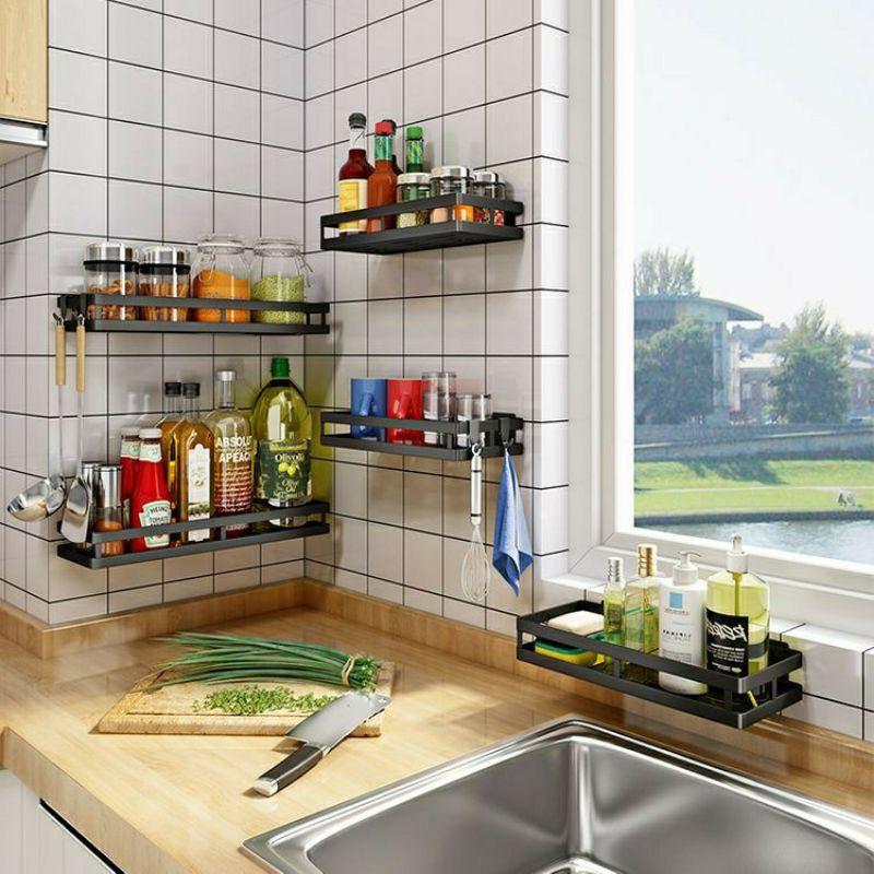Kệ đựng gia vị nhà bếp dán tường không cần khoan đục bằng thép,kệ để đồ nhà bếp nhà tắm cao cấp
