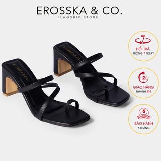 Giày cao gót nữ Erosska phối dây mãnh kiểu dáng xỏ ngón cao 6cm màu đen _ EB023
