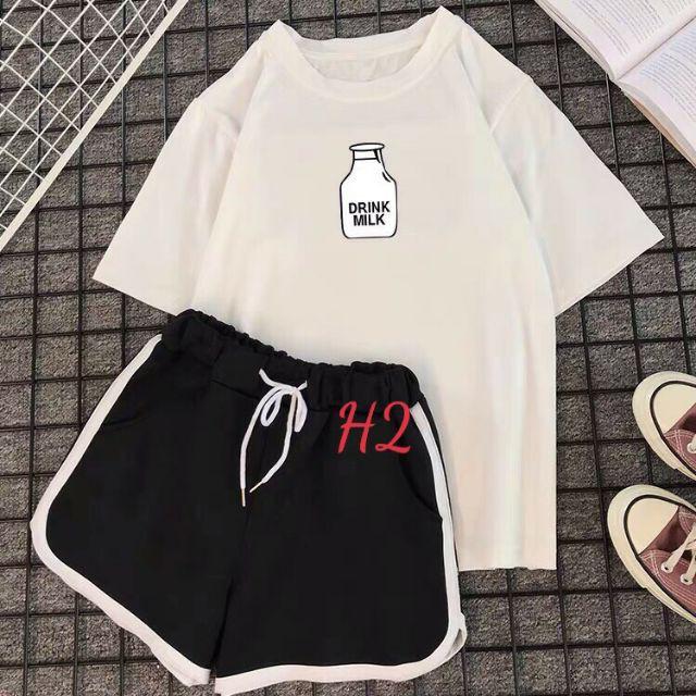 Mặc gì đẹp: Gọn tiện với Sét Bộ Đồ Nữ Mặc Ngủ, Mặc Ở Nhà Ngắn Mùa Hè, Áo Phông Cotton Mát Mịn In Lọ Sữa Kèm Quần Đùi Viền Thun Cát