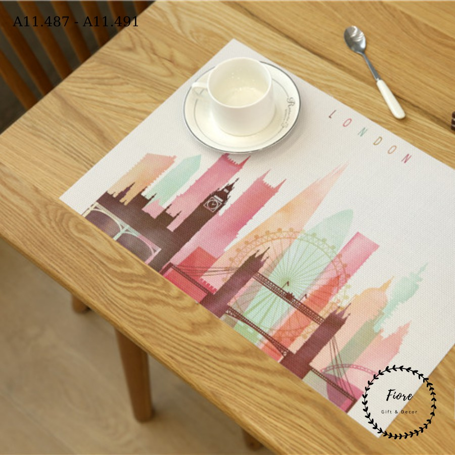 Tấm lót bàn ăn chống trầy xước họa tiết ngộ nghĩnh - miếng lót chén dĩa phụ kiện bàn ăn