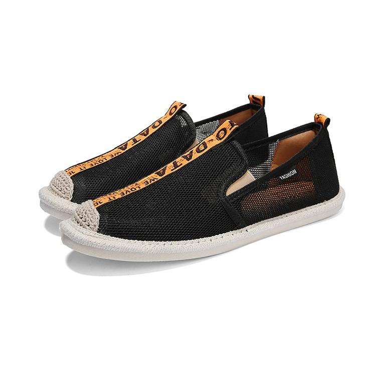 Slip on lưới - Giày lười lưới nam cao cấp - 2 màu đen sọc đỏ & đen sọc vàng - Mã SP 2912