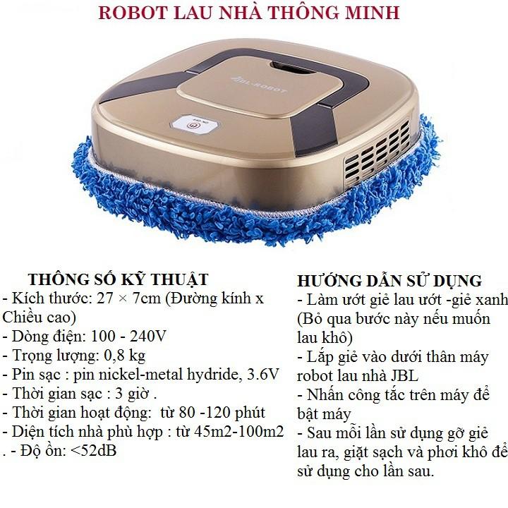 Robot lau nhà tự động - Máy lau nhà thông minh hai tính năng lau khô và ướt sử dụng pin sạc - đồ gia dụng nội địa Trung