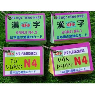trọn bộ 4 thẻ flashcards n4 từ vựng  kanji ngữ pháp