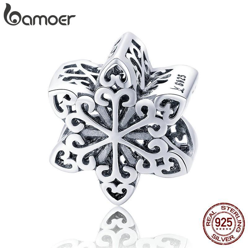 Hạt charm Bamoer hình hoa tuyết đơn giản sáng tạo