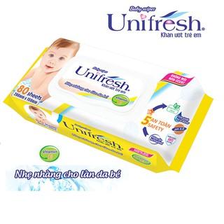 Combo 5 gói khăn ướt Unifresh Vitamin E 80M _ khăn ướt không mùi
