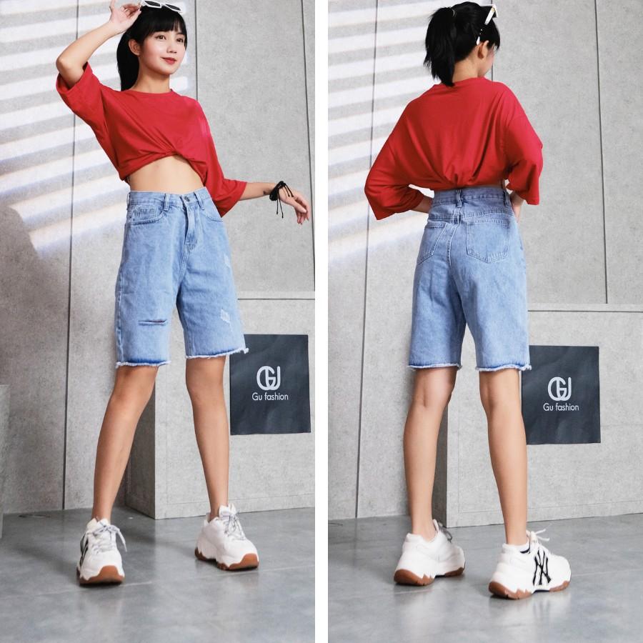 [Mã WASEPRN hoàn 20% xu đơn 99k] Quần Short Jean Nữ Rách Gấu Cap Cao Dáng Rộng Gu Fashion