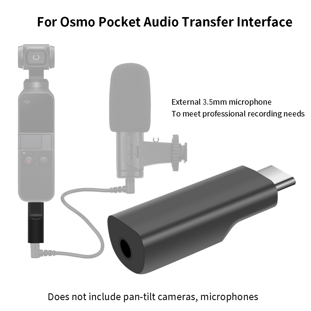 Type C To 3.5mm External Microphone Accessories Mini Audio Adapter Recording Portable For OSMO Pocket