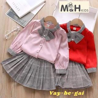 Váy Bé Gái❤️Set Áo Sơ Mi Kèm Chân Váy Kẻ Xoè Xinh Xắn Cho Bé Yêu (AT01)
