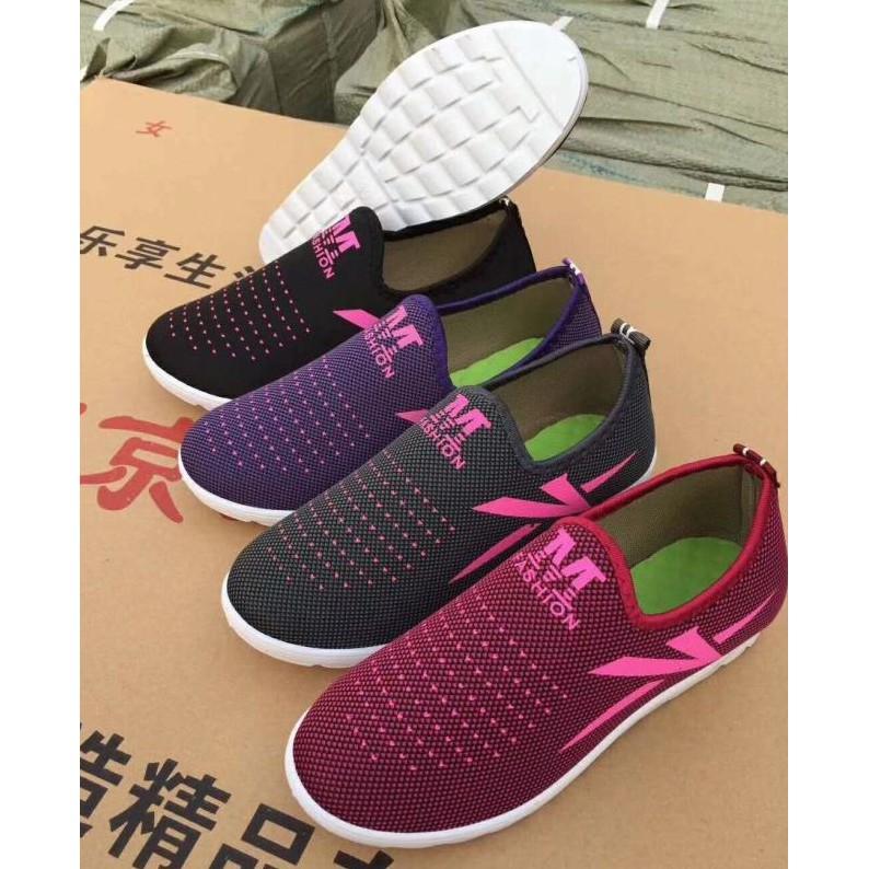 Giày lười vải đế cao su mềm (Xám - tím - hồng)