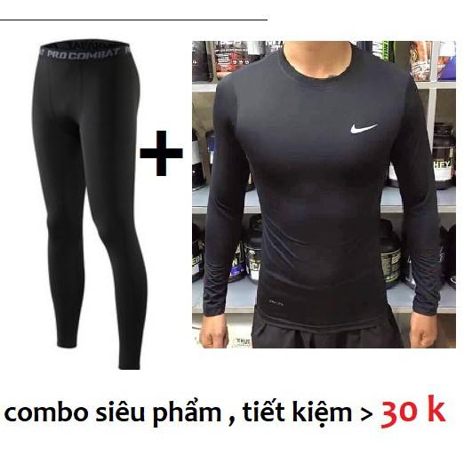 Quần áo tập gym nam + quần áo giữ nhiệt pro combat cao cấp
