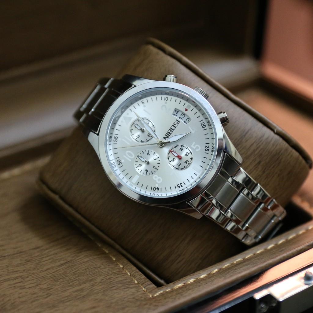 Đồng hồ nam NIBOSI fullbox dây thép không gỉ , chạy 6 kim BH 12 tháng - NIBI10