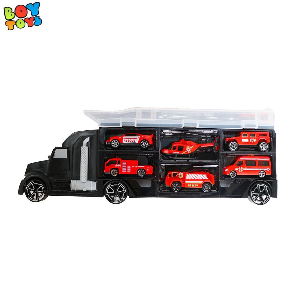 Đồ chơi xe container vận chuyển xe ô tô và trực thăng, hộp đồ chơi đầy đủ 6 chiếc